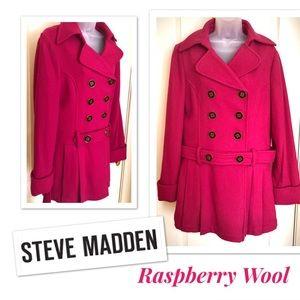 Steve Madden Jackets & Coats - Wool Coat Steve Madden Raspberry Double Breasted❄️